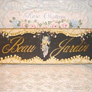 Beau Jardin, Beautiful Garden, Shabby Paris CHIC Sign! Cherub!