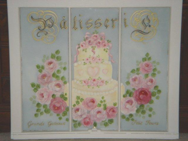 Huge French Chic Patisserie VINTAGE Window Hand Painted Roses