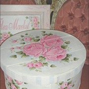 Shabby VINTAGE Wooden Box Hand Painted Chic RoSeS