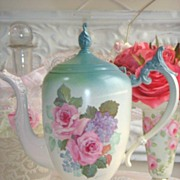 Lovely Rose Art! Vintage Teapot HP Roses ~ Chic