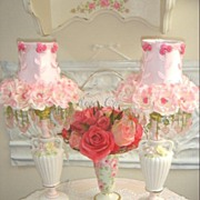 Sweet Pair Cottage Pink Roses Lamps/Beaded Shades