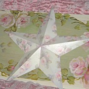 Chic HP Roses Large Holiday STAR Shabby Christmas