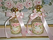 Hand Painted ROSES Vintage Filigree PERFUME Bottles Chic