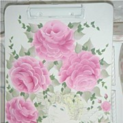 Shabby Cottage Chic Clipboard w/HP Roses & Cherub