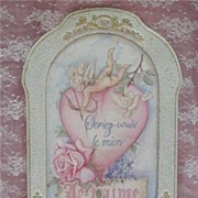 CHIC RoSe & Cherub Hand Painted Sign~Be Mine!  Artist Signed