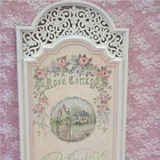 Ornate Lattice HP Rose Cottage B&B Sign
