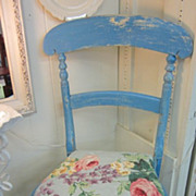 Hand Painted Scottish Parlor Boudoir Chair...Crackled Peely....Shabby Chic RoSeS Cushion