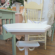 Hand Painted Wrought Iron Bath Table...Soap Holder...Shabby Distressed Chic