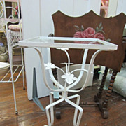 SOLD Cutest Vintage Wrought Iron Table...Metal Leaves...Glass Top