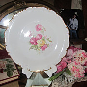 Gorgeous Vintage Roses Cabinet Plate...Large Pink Roses...Germany