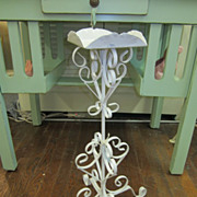 Chippy White Wrought Iron Planter...Shabby Distressed...Scrolls Galore