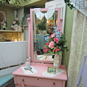 Hand Painted Vanity Dresser Mirror...Distressed Hibiscus Pink...Empire Style