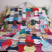 Vintage Hand Stitched Patchwork Quilt Top...Full/Queen...Scalloped Edges