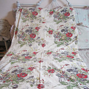 Vintage 1950s Barkcloth Bark Cloth Drapery Panel...Lovely Red Roses...Crafters...Prairie Chic 