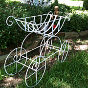 Vintage Wrought Iron Chippy White Planter Flower Cart...Scrolls Galore...Unusual Shape