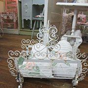 Shabby Peely White Wrought Iron Magazine Stand...Scrolly Rusty...Chic Delight