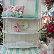 Shabby Distressed Cream Standing Shelf...Distressed Chic...Cottage Chic