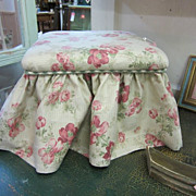 Shabby RoSeS Covered Stool Bench...Ralph Lauren Fabric