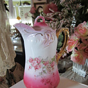 Shabby Porcelain Chocolate Tea Pot...Pink Roses...Vintage Pink