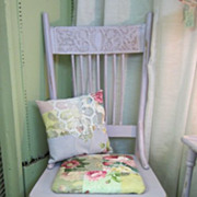 Hand Painted Distressed Chair...Shabby Cottage Lilac...Quilted Roses Cushion