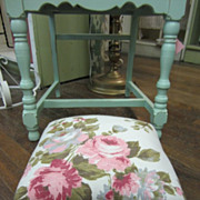 Hand Crafted Vintage Wooden Stool...Pink Roses Bark Cloth Fabric...Shabby White Bun Feet