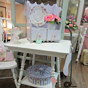 Hand Painted Shabby White Table...Vintage Oak Side Table...Shabby Distressed
