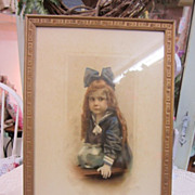 Vintage Little Girl with Fish Bowl Print...Adorable Real Photo Girl in Sailor Suit