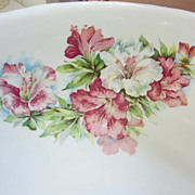 Vintage Anchor Pottery Wash Basin Bowl..1900s...Pink Flowers