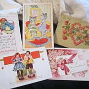 Valentines Valentines Day Vintage Postcards...Set of 5...Altered Art Scrap Booking Scrapbook