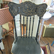 Hand Painted Shabby Chair...Cottage Distressed Black...Decorative Pressed Back