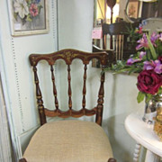 Vintage Stained Parlor Chair...Vintage ROSES Cushion...Decorative Designs...FREE Shipping