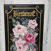 Hand Painted Pink Roses Vintage Cabinet Door Sign Paris Apt Shabby Chic