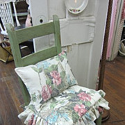 Hand Painted Shabby Chic Ladder Back Chair Distressed Green RoSeS Cushion FREE SHIPPING