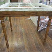 Shabby Chic Table Salvage Window Top Three Panes Marriage Piece FREE SHIPPING