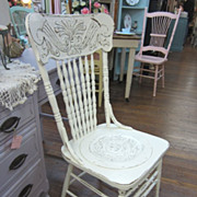Hand Painted Shabby White Chair Pressed Back Distressed Chic FREE Shipping