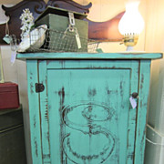 Hand Painted Shabby Green Cabinet Distressed Vintage Chic FREE Shipping
