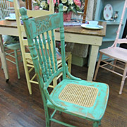 Hand Painted Shabby Chic Green Chair Cane Seat Distressed Press Back FREE Shipping