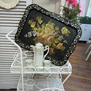Vintage Wrought Iron Garden Tea Cart Planter...Shabby Distressed White FREE Shipping