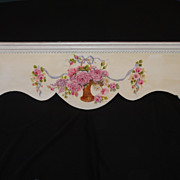 Gorgeous Hand Painted Rose Basket Header Shelf ROSES Ribbon Galore