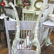PAIR Vintage Architectural Salvage Oak Harps Shabby Chic Distressed White FREE Shipping