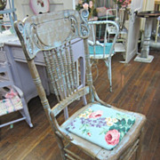 Hand Painted Chair Roses Cushion Shabby Chic Distressed Prairie Style FREE Shipping