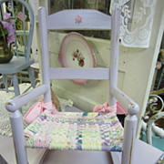 Hand Painted Child Children Rocking Chair...Distressed Lilac...Hand Woven Seat Cushion