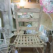 Shabby Chippy Ladder Back Chair Rope Seat Prairie Style Chic FREE Shipping