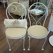 Shabby Prairie Chic Wrought Iron Garden Ice Cream Chair Burlap Seat FREE Shipping