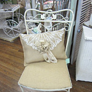 Prairie Style Garden Wrought Iron Chair Burlap Seat FREE Shipping