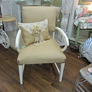 Hand Painted Shabby Prairie Chic Chair Burlap Upholstered Matching Pillow FREE Shipping