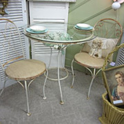 Shabby Prairie Iron Garden Table and Chairs Chippy Rusty Burlap Seats FREE Shipping