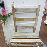 Prairie Chic Vintage Bead Board Chair Chippy Creamy White FREE Shipping