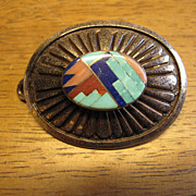 Vintage Native American Hand Made Sterling Silver Belt Buckle with Real Stones by Jackson