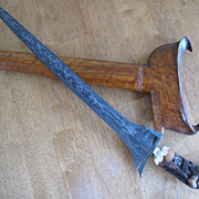Great Old Straight Blade Indonesian Kris Cirabon Great Scabbard and Pamor